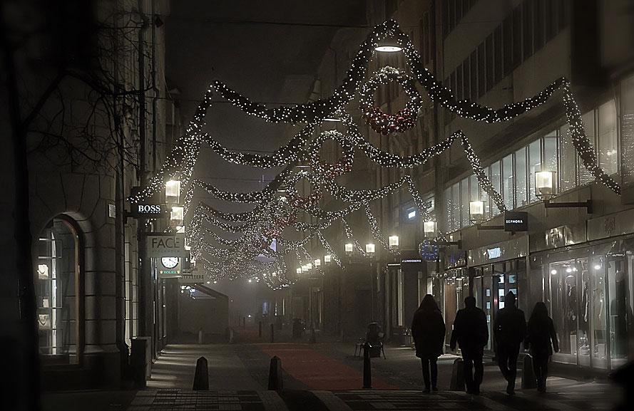 Julskyltning på Biblioteksgatan, Stockholm