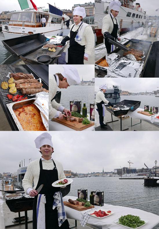 Fredrik Jonsson kockar vid lanseringslunchen för Raccolto Nero d'Avola BiB