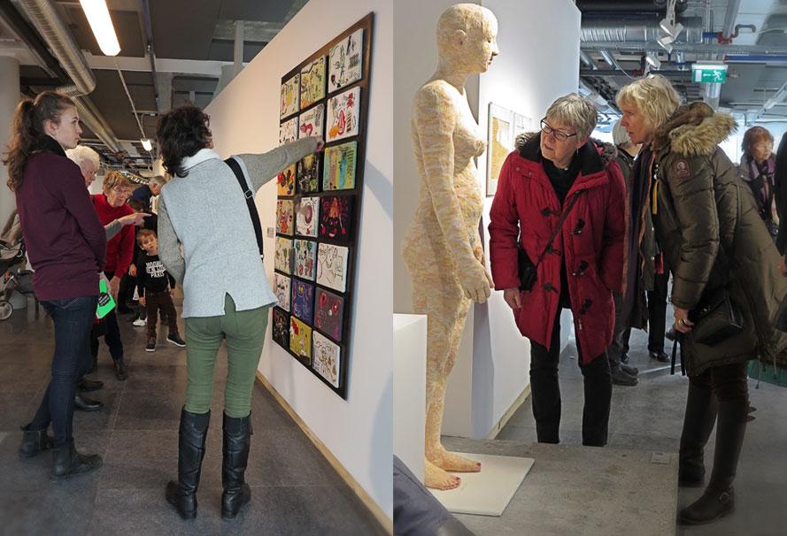 """""""Stygn & Synd"""" kallar Saligia sitt stafettbroderi på temat de sju dödssynderna. 21 000 kr / Cecilia Pfaffs handstickade skulptur """"Mikaela"""", är till salu för 450 000 kr"""