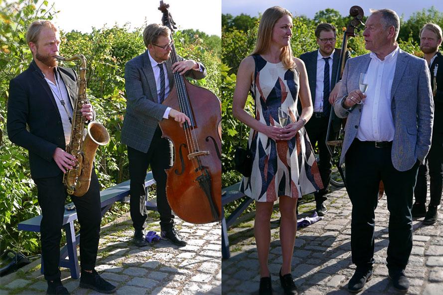 Värdparet, galleristerna Sara Sandström Nilsson & Stefan Andersson, tillsammans med musikerna Andreas Gidlund (sax) och Martin Sjöstedsom (kb) som bidrog till den sköna stämningen