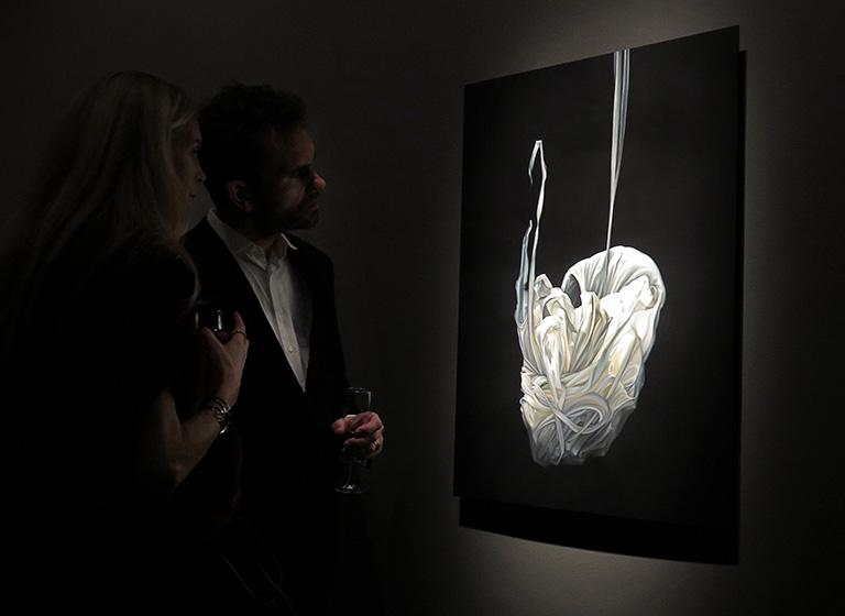 Vernissage för Anna Camner, mottagare av Beckers konstnärsstipendium 2017, utställning på Färgfabriken