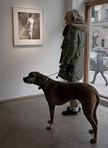 Vionnet-klänning med fjädrar samt hund på Irving Penn – Fashion på Åmells