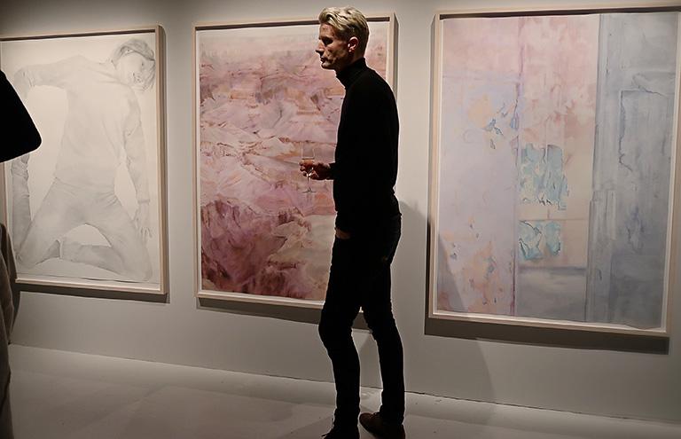 Vernissage för Beckers konstnärsstipendiums 30-årsjubileumsutställning på Färgfabriken: Maria Nordins akvareller